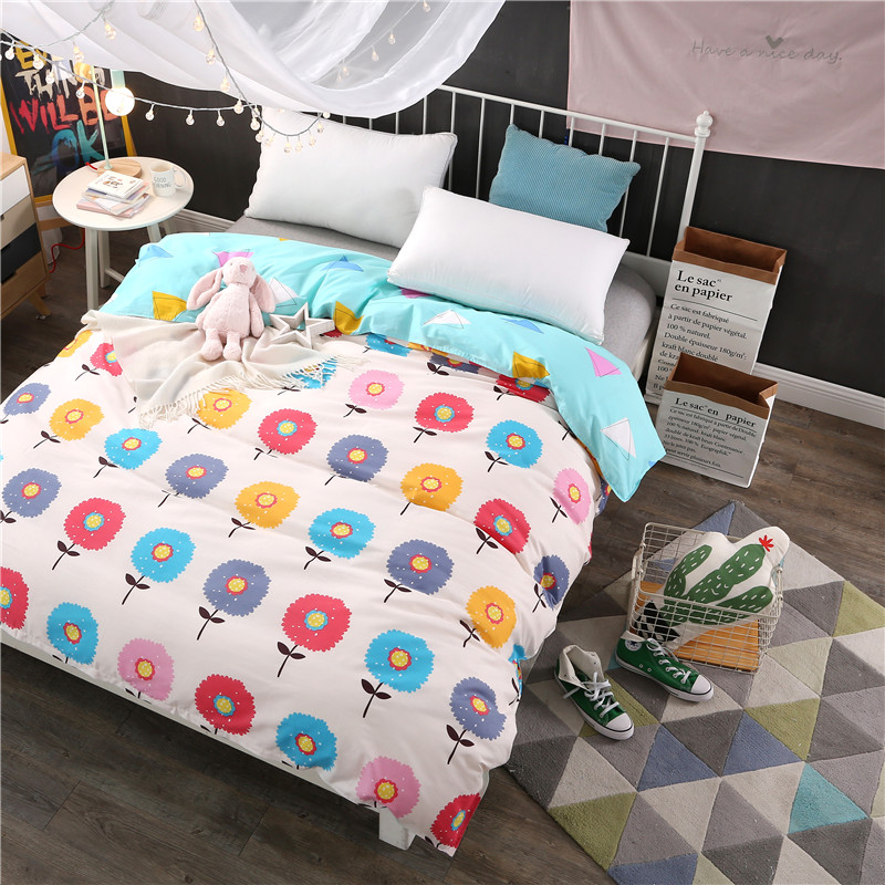 Colored flowers 100% Cotton twin full queen king size quilt duvet blanket cover comforter case white blue High quality bedding