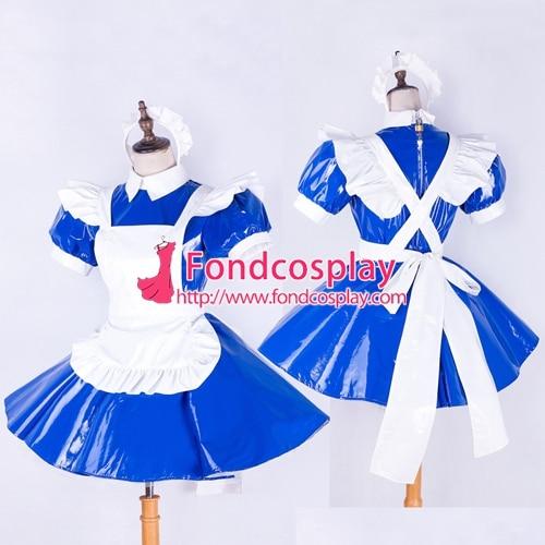 Запираемый горничная Сисси ПВХ платье синий форма косплэй костюм Индивидуальный заказ [G1652]