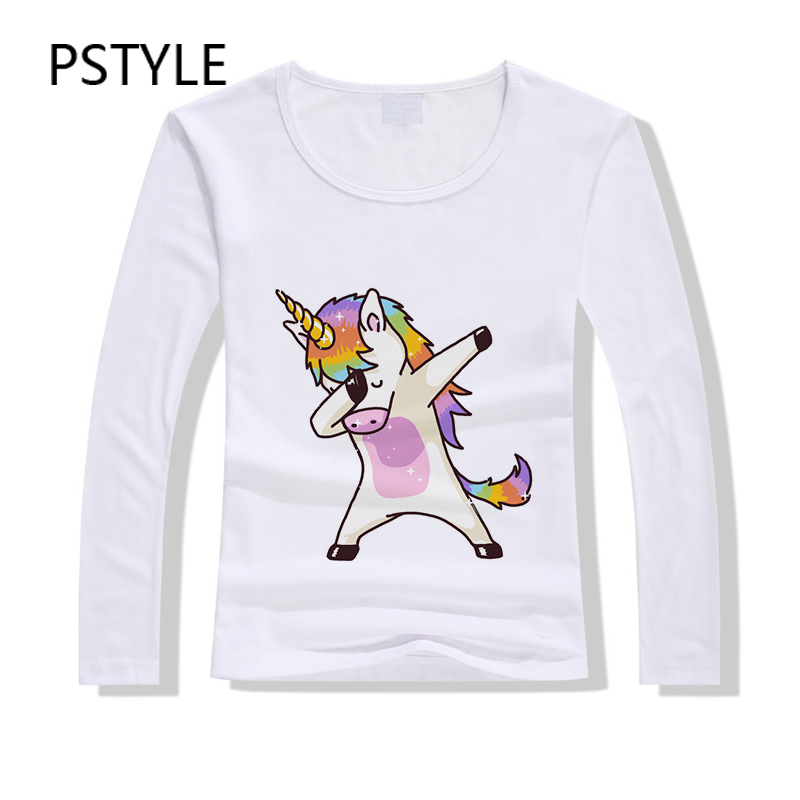 5f500a7662 Barato PSTYLE DAB Unicórnio Camiseta Hip Hop Estilo Manga Longa Mulheres  camiseta Animal Print camiseta Modal