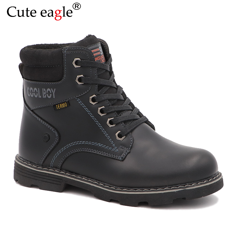 Cute Eagle Winter Felt Boots Boys Classic Ankle Boots Kids Woolen Plush Warm Snow Boots For Boys Martin Rubber Sole Boots
