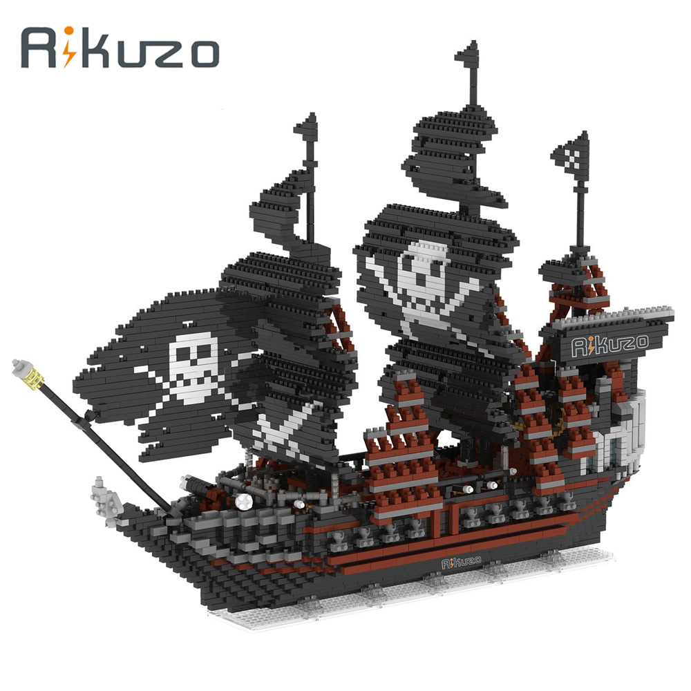 Rikuzo Black Pearl Pirate Ship Model Building Block Set 3633pcs Large Ship - Nano Micro Blocks Diamond DIY Toys Gift lepin 22001 pirate ship imperial warships model building block briks toys gift 1717pcs compatible legoed 10210