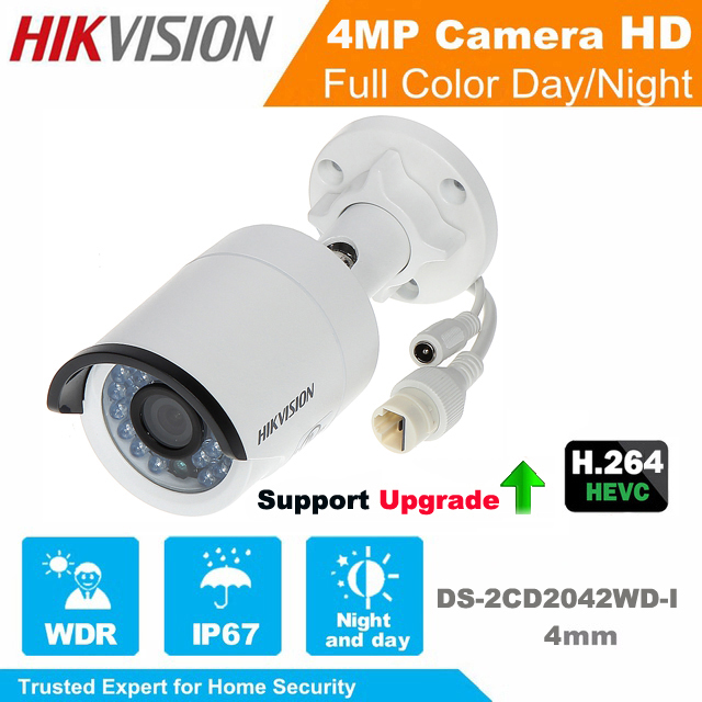 Hikvision English Version IP Camera DS-2CD2042WD-I 4MP Bullet waterproof Network IP Camera IR POE cctv camera Support Upgrade hikvision ip camera 4mp bullet security camera with poe network camera ds 2cd2042wd i video surveillance 4pcs lot dhl shipping