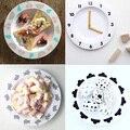 2016 Nova Infantil Bonito Do Bebê Da Melamina Alimentação Nuvem Relógio de Frutas Carta Geometria Placa Prato de Frutas Pratos Crianças Talheres Criança