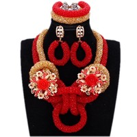 4UJewelry African Jewelry Set Beads Dubai Gold Color and Red Nigerian Wedding Necklace For Bride Women 2019 New Designs