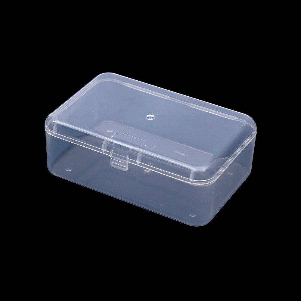 2PCS Small Transparent Plastic Storage Box Clear Square Multipurpose Display NJ