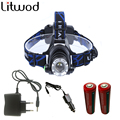 LED Headlight CREE T6 led headlamp zoom Head lights lamp 2800lm XM-L T6 Rechargeable zoomable 2 Batteries+car charger+AC charger