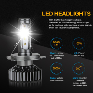 Image 2 - Zdatt H7 LED H4 H1 H11 9005 9006 سيارة المصابيح الأمامية 12000LM 6000K 12V المركبات السيارات الضباب أضواء HB3 HB4 مصابيح مروحة تربو