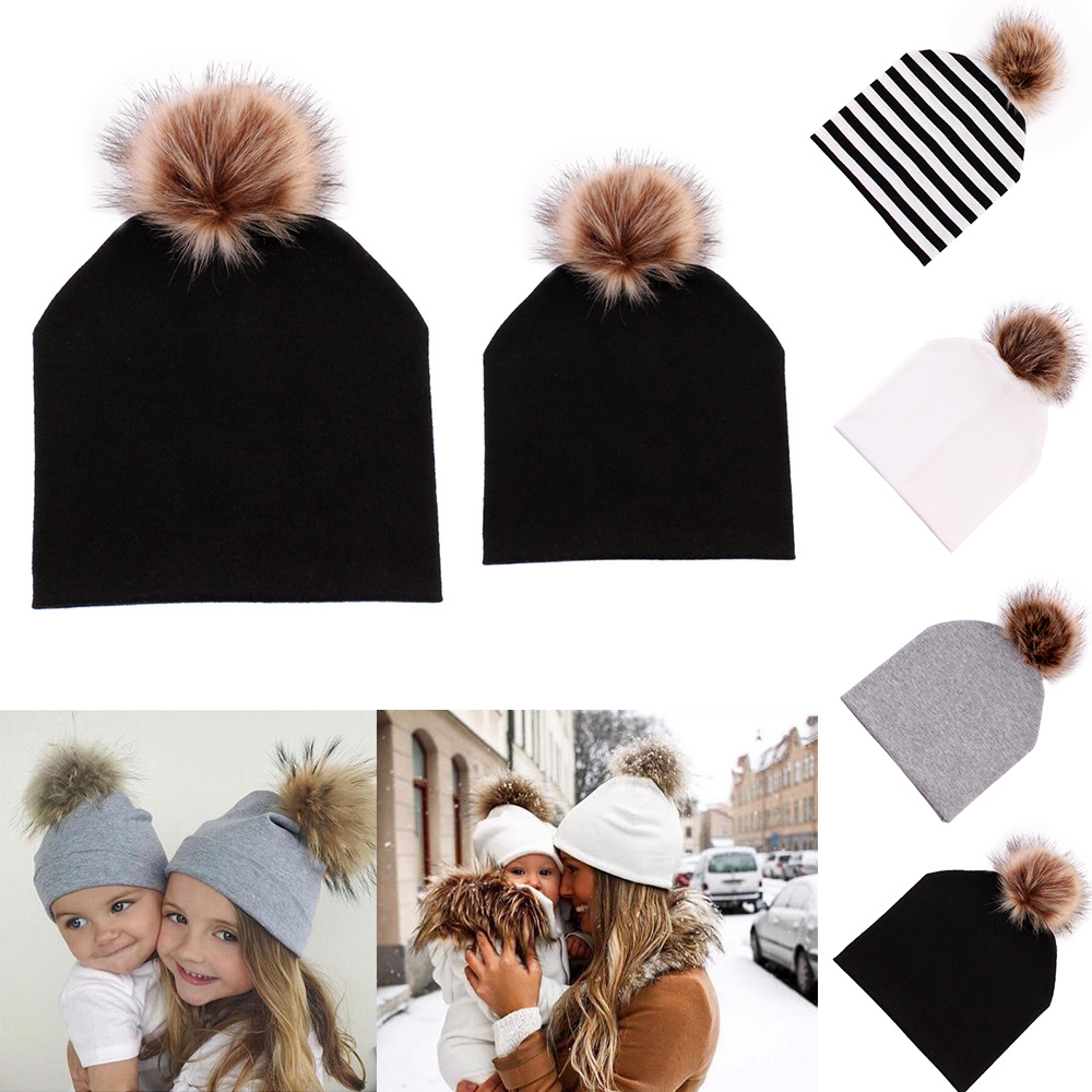 Beanie Hats Caps Pompom Bobble-Hat Mink-Fur-Ball Warm Baby Kids Women And Mom Cotton