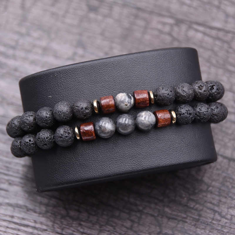 Couple bracelet set natural Stone bracelet/beads/lava/homme/fashion/bangles Bracelet Men Wooden bead mala bracelets Accessorie J