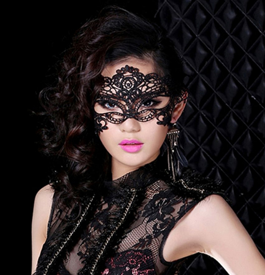 Black <font><b>Sexy</b></font> Lady Lace Floral <font><b>Eye</b></font> <font><b>Mask</b></font> Venetian Masquerade Fancy Party Wedding Christmas Birthday Dress image