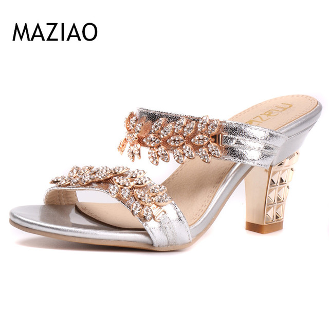 Bling Ladies Sandals Summer Open Toe Slippers Party Sandals Chunky High Heels  Shoes Women Rhinestone Gold