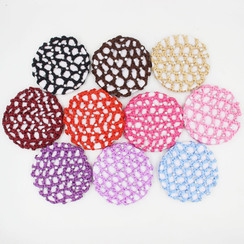 Hair Hairnets Girls Women Bun Cover Snood Hair Net Ballet Dance Skating Crochet Colorful Elastic Hairnet Styiling Tool