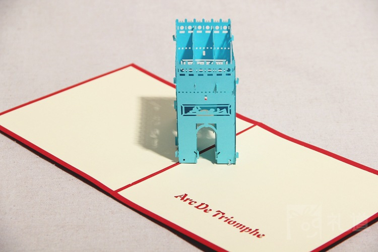 paris arc de triomphe triumphal arch model 3d red postcards