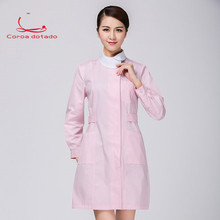 Nurse wear long sleeve slim white coat doll collar lab coat drugstore beauty salon pink work clothes