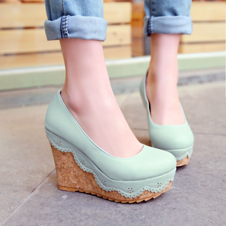 Mint green wedges platforn shoes women small fresh macaron ...