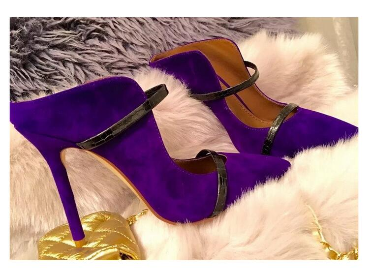 Ravryy Sexy Flock Purple Stiletto Shoes European Style Pointed Toe Lace-Up Pumps Shallow Dress Thin High Heel 2017pink pointed toe flock velvet women ankle wrap high heels party dress lady designer pumps shoes lace up stiletto shoes woman