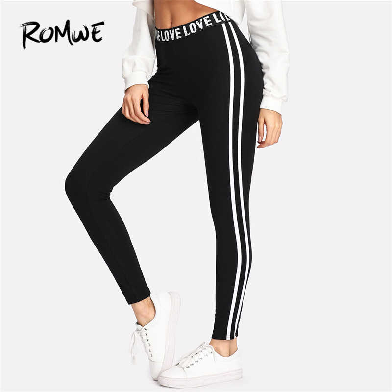 771c70292e Romwe Sport Letter Print Waist Two Stripes Side Women Black Yoga Pants  Stretchy Training Active Wear