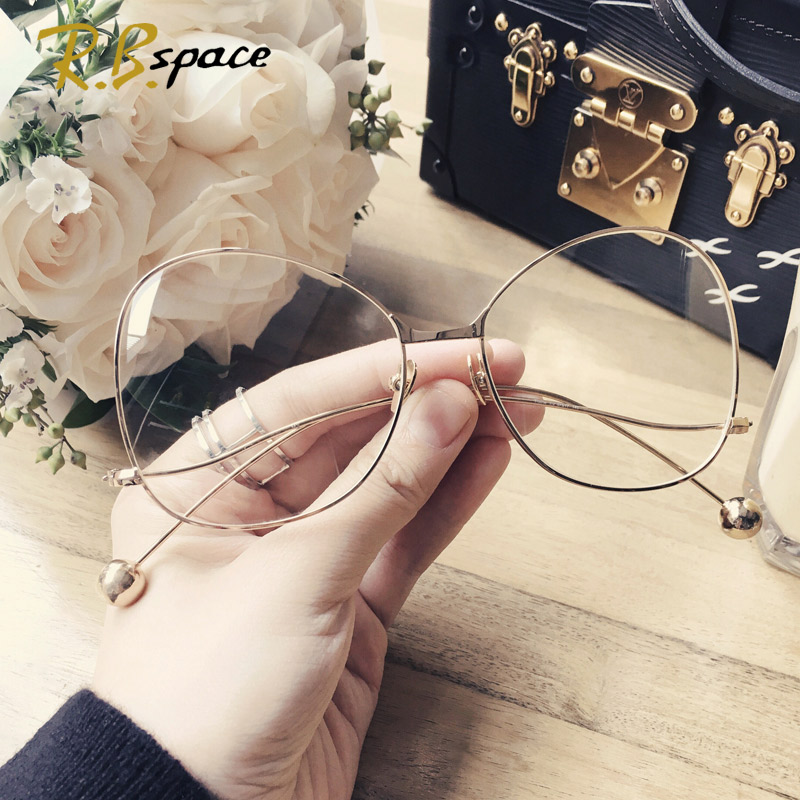 2017 Retro Fashion Large-framed Glasses Frame The Trend Of Female Designer Brand Big Box Plain Mirror Big Face Radiation Glasses Elegant Appearance