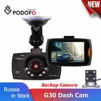 Podofo Two lens Car DVR Dual G30 Camera 1080P Video Recorder With Rear View Cameras Car Dash Cam Loop Recording Camcorder Dvrs