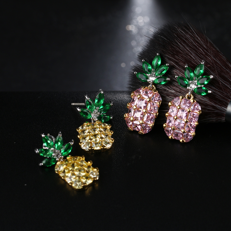 2017 Z Pineapple Yellow Big Jewel Crystal Silver Earrings Female Sweet Lady Charm Geometry High Quality Jewelery Festival Gift
