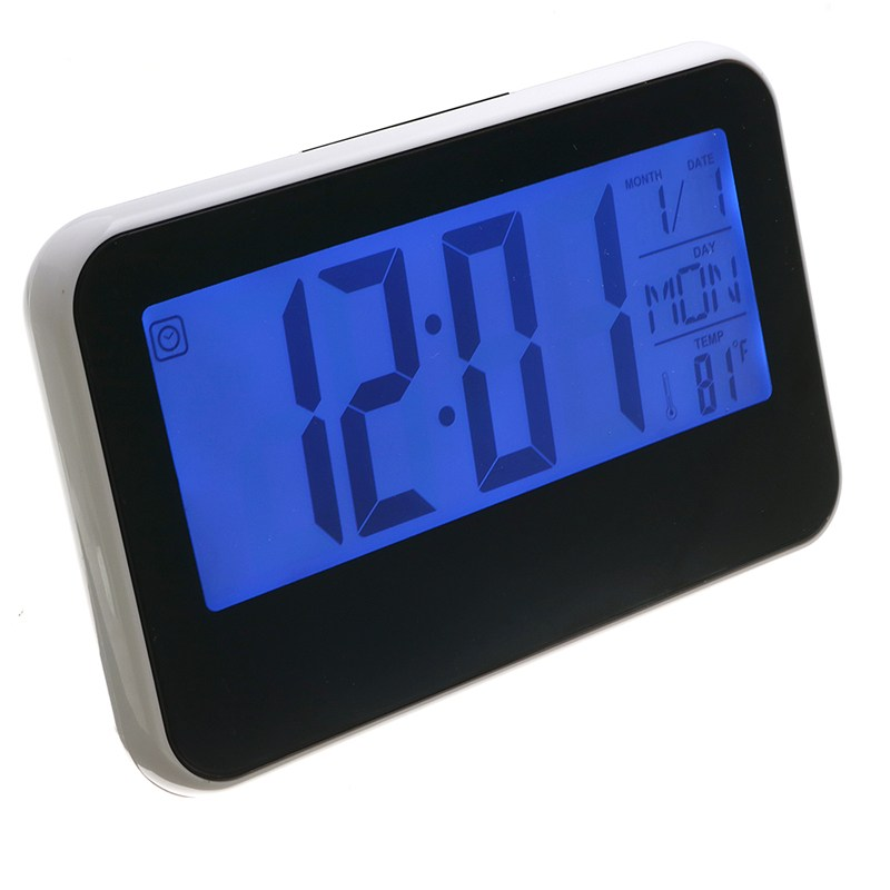Charminer New Ultra LCD Display Digital Alarm Clock Thermometer Sound Controlled Backlight Snooze Black White Top Quality