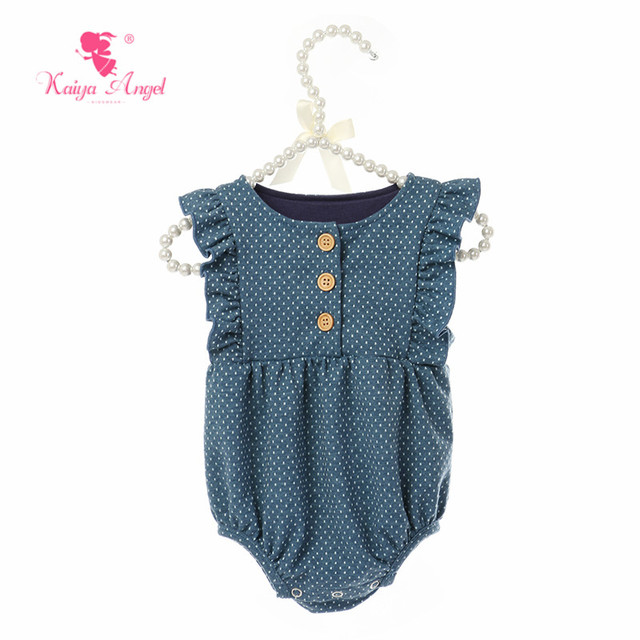 1569226c1e5cb Kaiya Angel New Arrival Newborn Baby Girls Romper Summer Infant Sleeveless  Ruffle Jumpsuit Toddler Dot Button Clothes Hot Sale