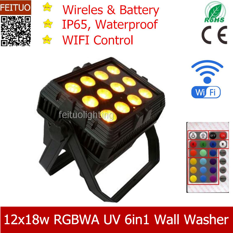 4pcs/lot WIFI Phone APP City Color 12x18w RGBWA UV 6IN1 DMX Wireless LED Wall Washer Battery Floodlight Outdoor Stage Lights