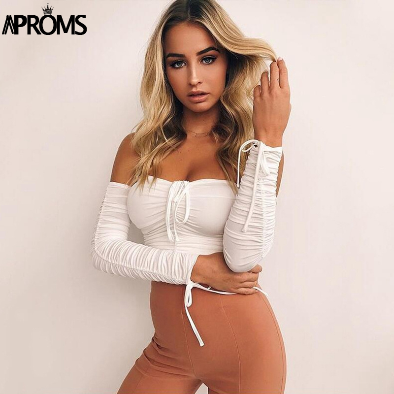 HTB1EQOTaMLD8KJjSszeq6yGRpXaG - Aproms Coolest Off Shoulder Crop Tops Casual Ruched Pleated White T-shirt Women Short Sleeve Cropped Tshirt for Women Clothing