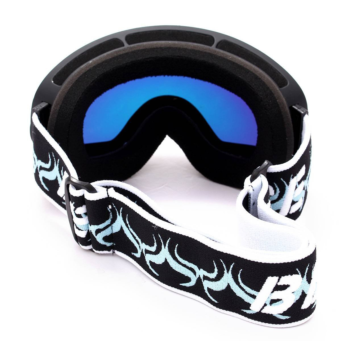 Ski goggles double layer anti-fog eyes black frame