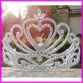 Envío libre de Plata del corazón del rhinestone tiara nupcial de la boda. gran cristal de halloween party pageant tiara de la corona para las mujeres