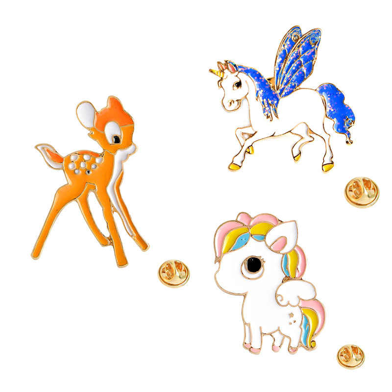 The New 3 Style Enamel Pony Horse Unicorn Deer Brooch Pin Button Jacket Collar Badge For Women Men Child Cartoon Animal Jewelry