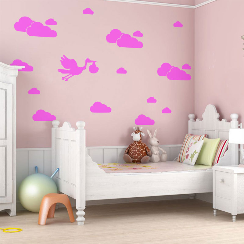Cartoon Clouds Stork Baby Nursery Kids Children's Room Vinyl Wall Art Sticker Decal Removable Home Decoration Bedroom N821 футболка eleven paris eleven paris el327emahbz7