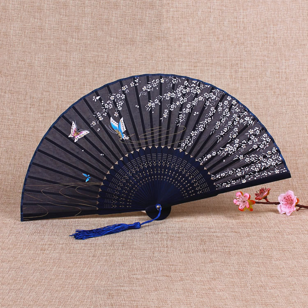 Whole Sale Summer Vintage Bamboo Folding Hand Held Flower Fan Chinese Dance Party Pocket Gifts Wedding Colorful Drop Shipping