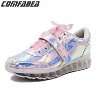 2018 Spring Autumn Shoes Women Casual Shoes Pink Silver Hologram Creepers Flat Heel shoes Fashion ladies Harajuku Outdoor Shoe