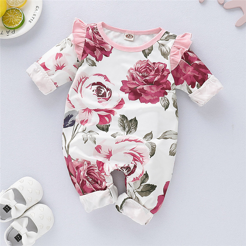 Newborn Infant Baby Girls Floral Flower Romper Bodysuit Jumpsuit Clothes Outfits