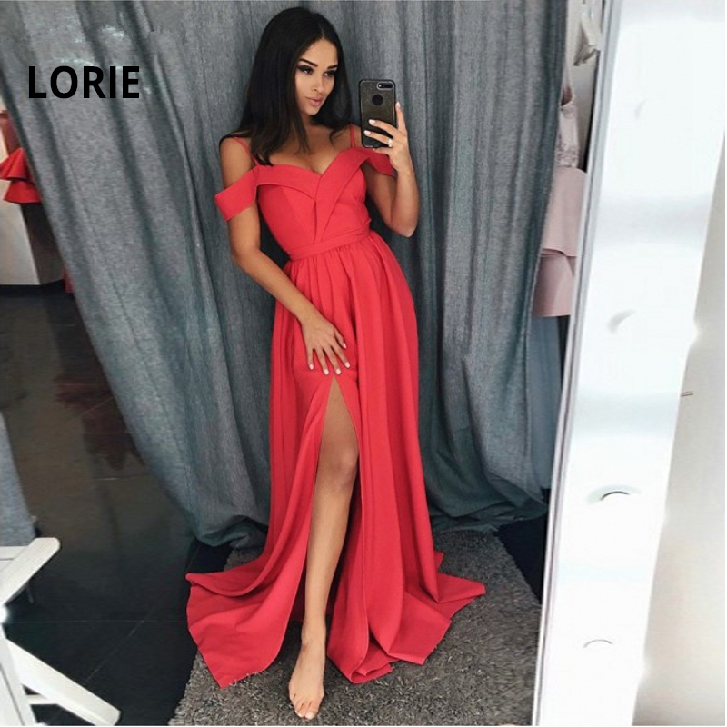 LORIE Formal Evening Dress with High Slit Satin Spaghetti Straps Sweetheart abendkleider Red Evening Gown 2019 robe de soiree in Evening Dresses from Weddings Events