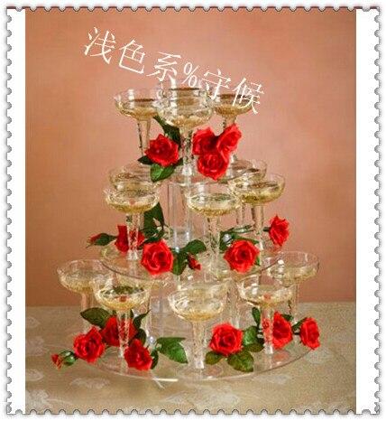 Livraison gratuite Présentoir de Cupcake de mariage en acrylique   Rond et clair à 3 niveaux présentoir de gâteau à Dessert Lucite pour fête d'anniversaire