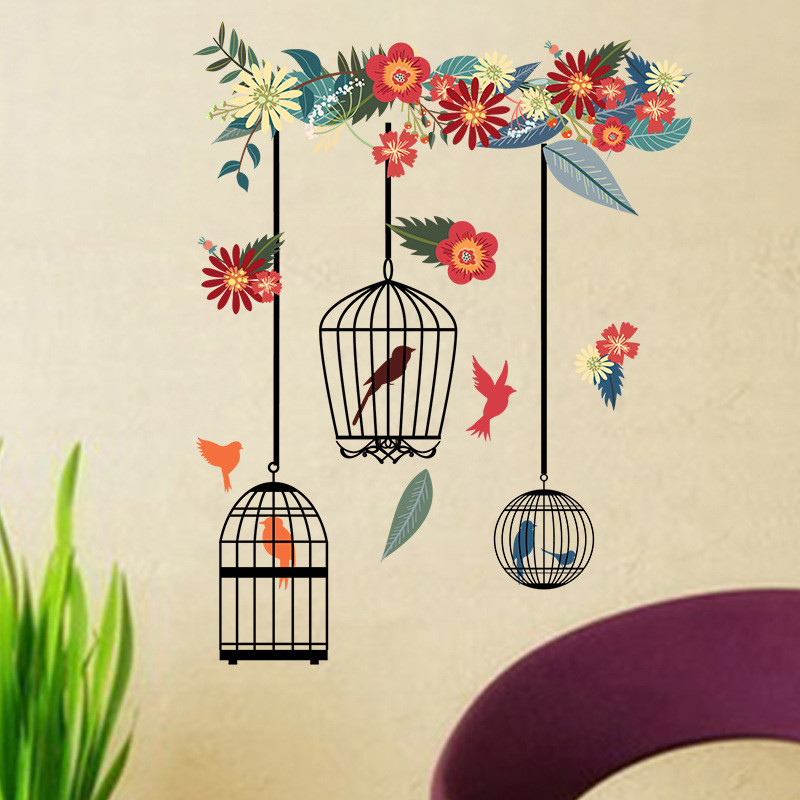 1PCS Colorful Flower Bird Cage Wall Sticker DIY For Living Room Floral Wedding Decoration PVC Wall Art Room Decals 58 32CM in Wall Stickers from Home Garden
