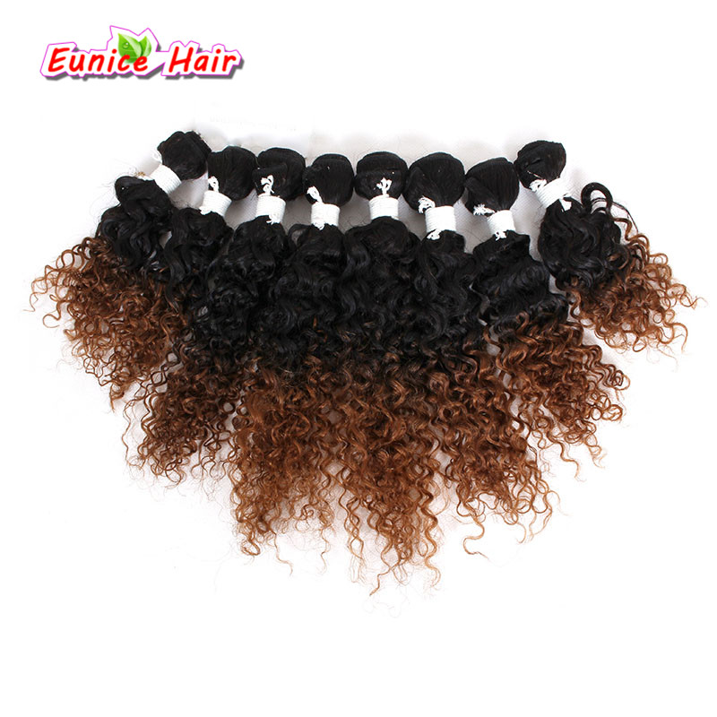 8pcs/lot Crochet Curly Hair Ombre Brown/BUG Brazilian Bulk Loose Wave Deep Curly Hair Two Tone Ombre Kinky Curly Weave Bundles