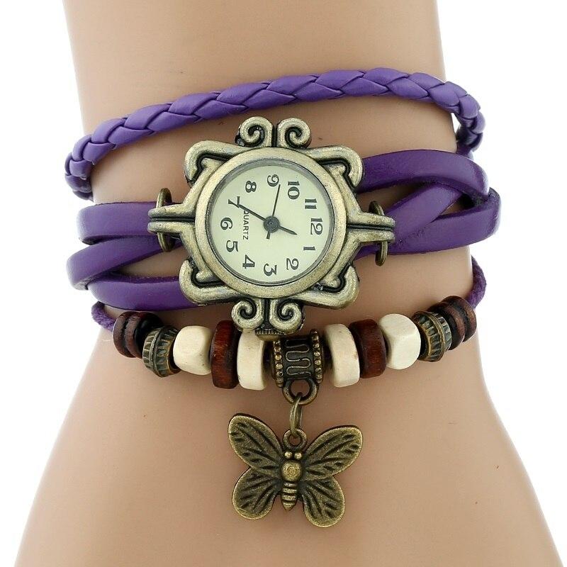 Gnova платины Кожаный Браслет Бабочка Леди Винтаж наручные часы мятно-зеленый розовый фиолетовый Этническая мода A887 - Цвет: Фиолетовый