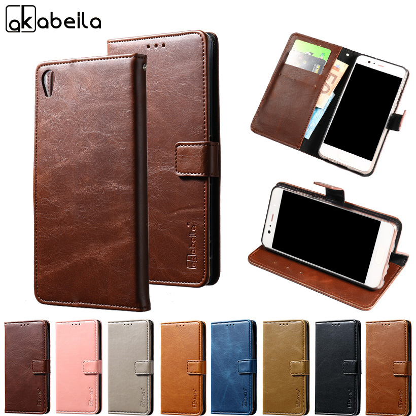 AKABEILA Phone Cover Case For Sony Xperia XA Ultra Dual F3212 F3216 F3211 F3213 C6 6.0 inch Wallet PU Leather Cases Card Hold