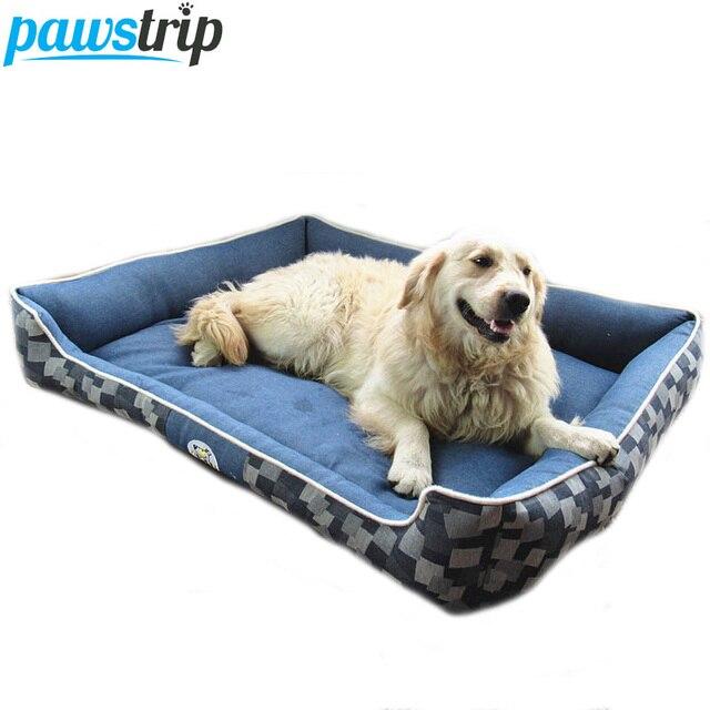Afneembare Wassen Hond Bed Duurzaam Denim Pp Katoen Gevoerde Puppy Bed Huis
