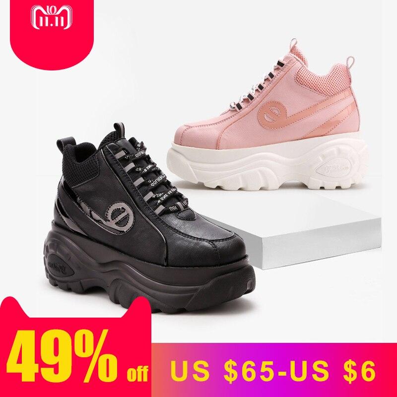 Pré-vente Blanc Chaussures Femmes Plate-Forme de Marque Dame Augmenté chaussure Croix-attaché Femme chaussures Noir zapatos de mujer
