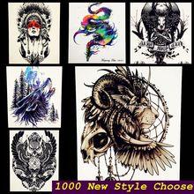 Brave As Siberian Lions Indian Warrior Waterproof Temporary Tattoo Men Body Art Flash Tattoo Stickers 17*10cm Fake Car Styling