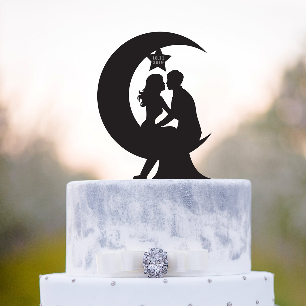 Moon wedding cake topper, Bride and Groom with date silhouette cake topper,Mr and Mrs Wedding Decor Supplies,unique topperMoon wedding cake topper, Bride and Groom with date silhouette cake topper,Mr and Mrs Wedding Decor Supplies,unique topper