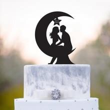 Луна свадебный торт Топпер, невеста и жених с датой силуэт торт Топпер, Mr и Mrs свадебный Декор поставки, уникальный Топпер