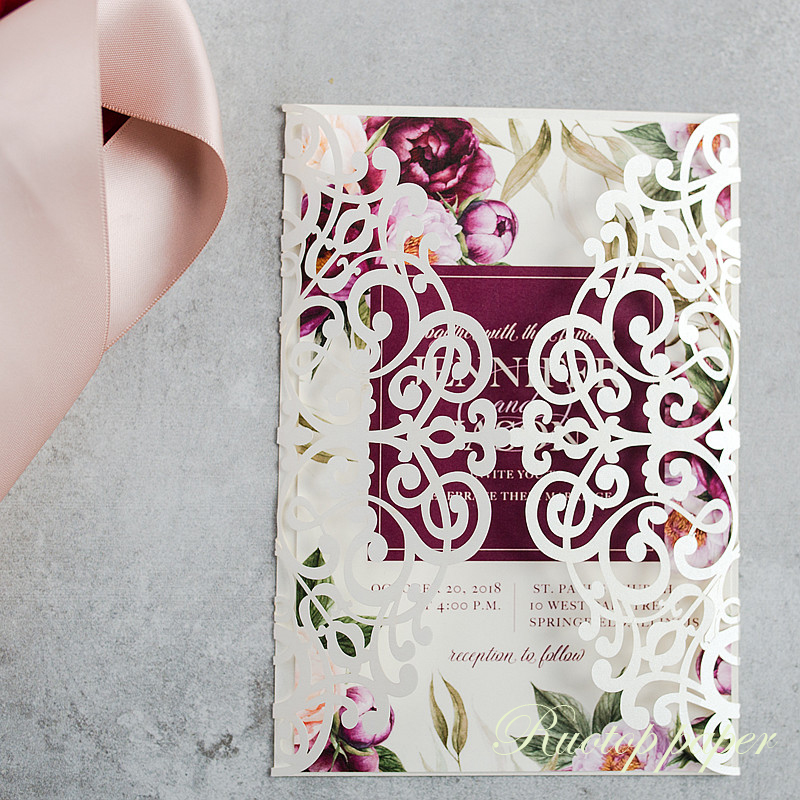 Luxury Wedding Invitations Online: Free Shipping Pearl White Paper Elegant Floral Luxury