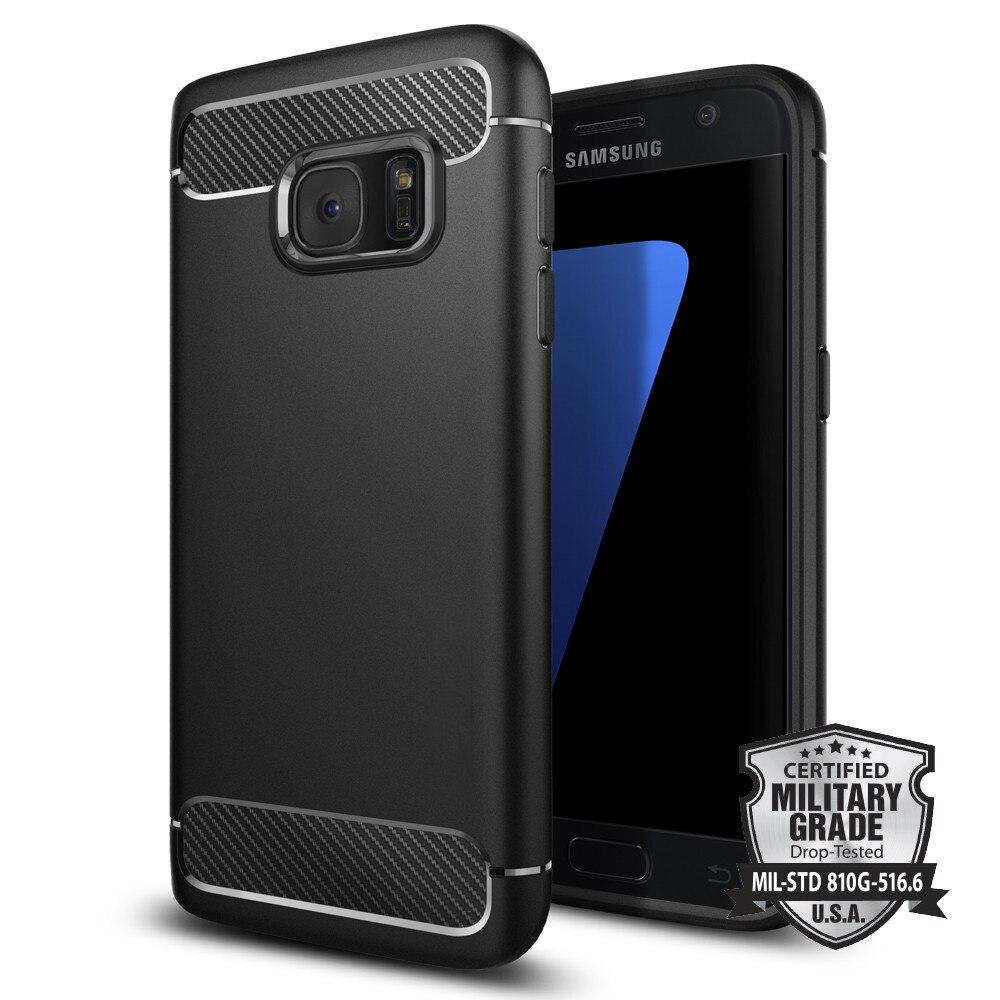 Case For Samsung Galaxy S7 100 Original SGP Rugged Armor 555CS20007 Flexible TPU Carbon Fiber Textures