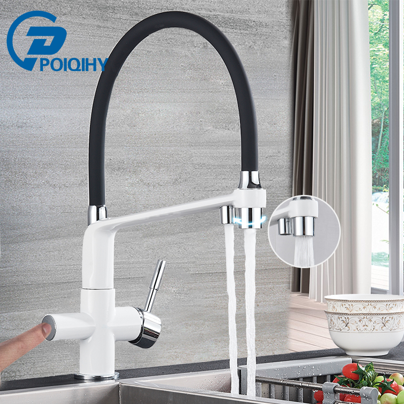 POIQIHY Pure Water Filter Kitchen Faucet Brass 3 Modes Pull Down Filtered Kitchen Faucets Dual Handle Spout Hot Cold Mixer Tap