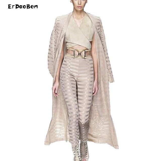 ERDAOBEN Новый женский sexy моды хаки обнаженная bodycon бинты из двух частей с пальто с длинным рукавом полные штаны DR524